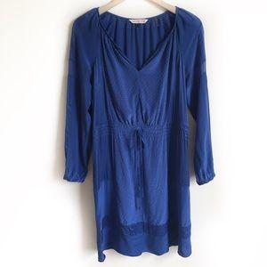 Rebecca Taylor Dress 100% Silk V Neck Blue Size 6